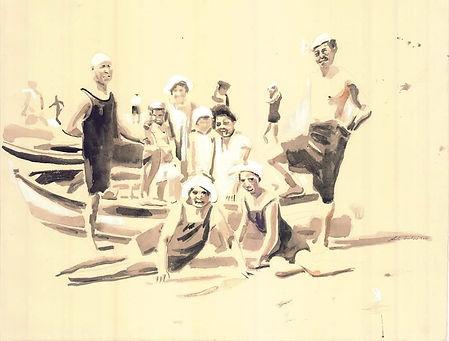 Bagnanti e barche 79 cm x 60 cm, watercolor 2019
