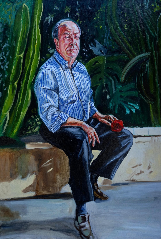 """M. Gabriele in his garden"", oil on canvas 100 cm x 70 cm 2021."