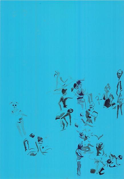 Lo scoglio blu, ink 100 cm x 70 cm 2019