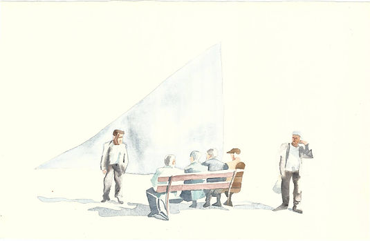 La Piazza, watercolor 50 cm x 70 cm 2014