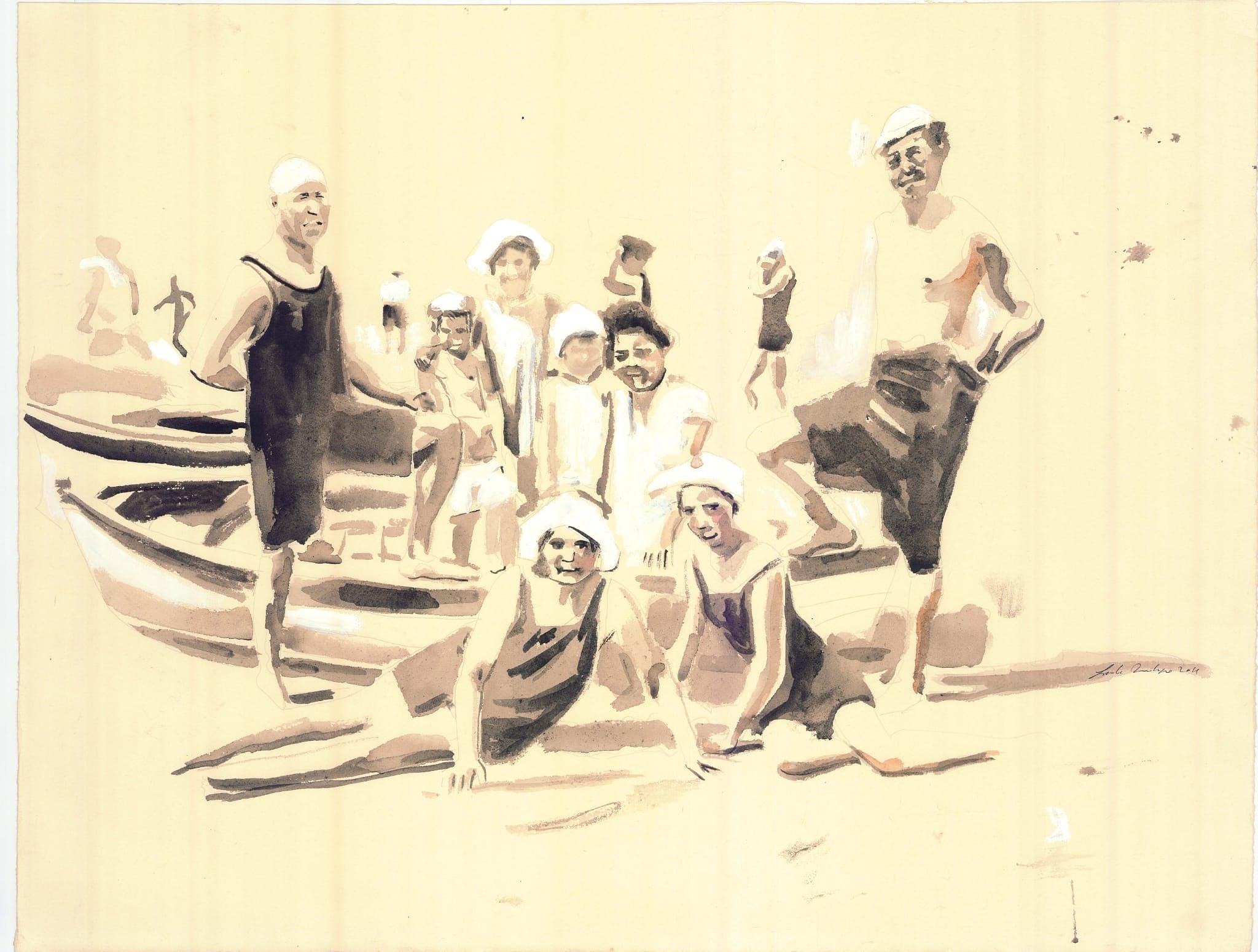 Bagnanti e barche 79cm x 60 cm