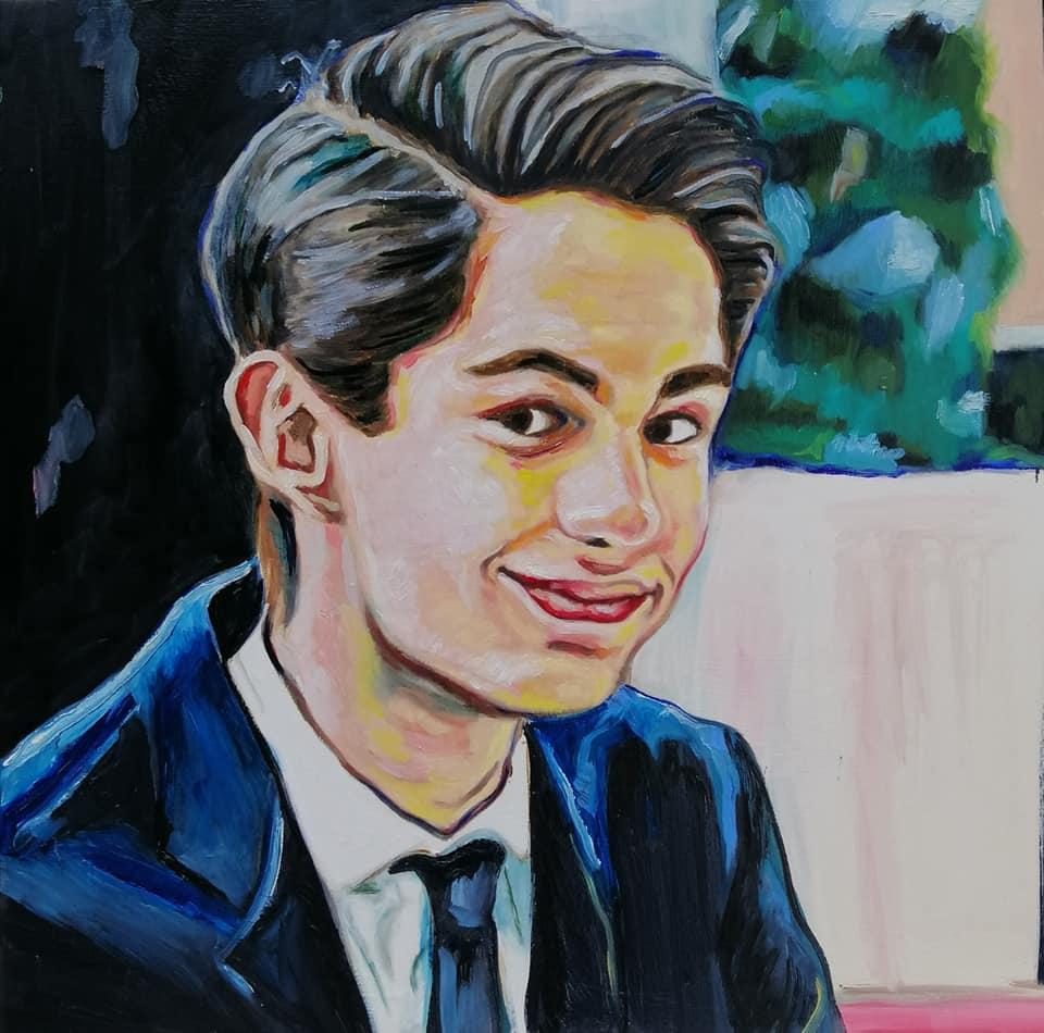 #lindarandazzo ritratto di Daniel 50 cm x 50 cm olio su tela 2020