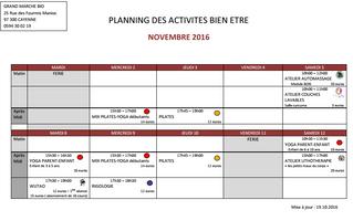 Planning des activités en novembre