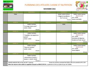 Planning des ateliers de cuisine et nutrition