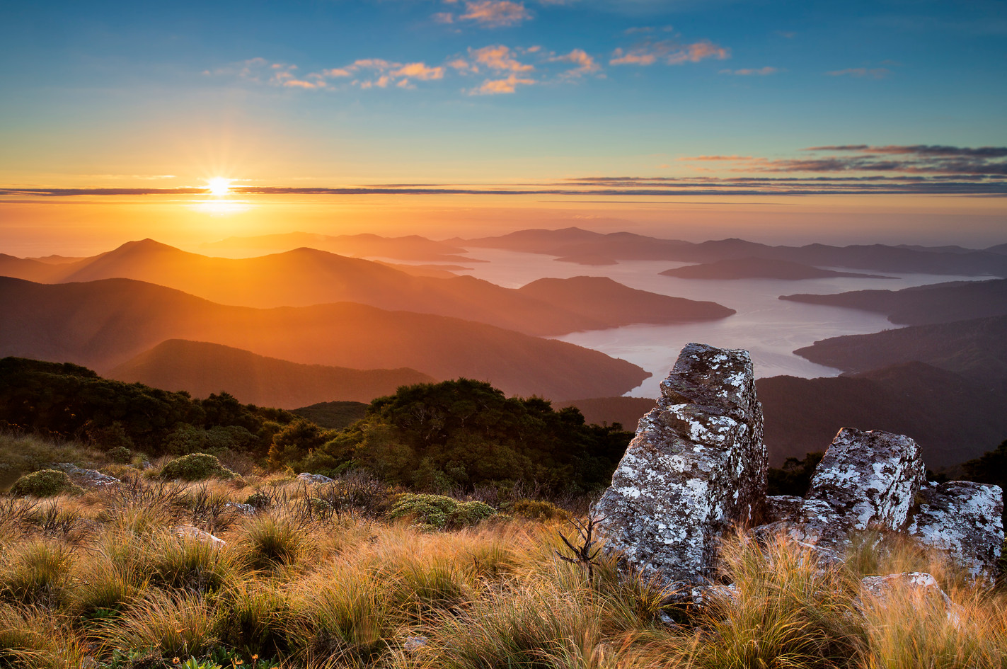 Sunrise over Marlborough Sounds from Mt Stokes