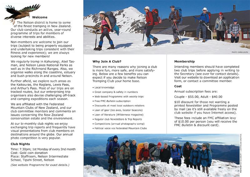 Nelson Tramping Club Brochure