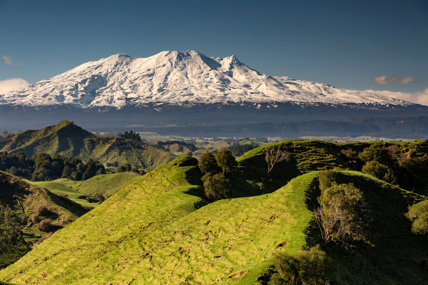 Mt Ruapehu presides over remote hill country