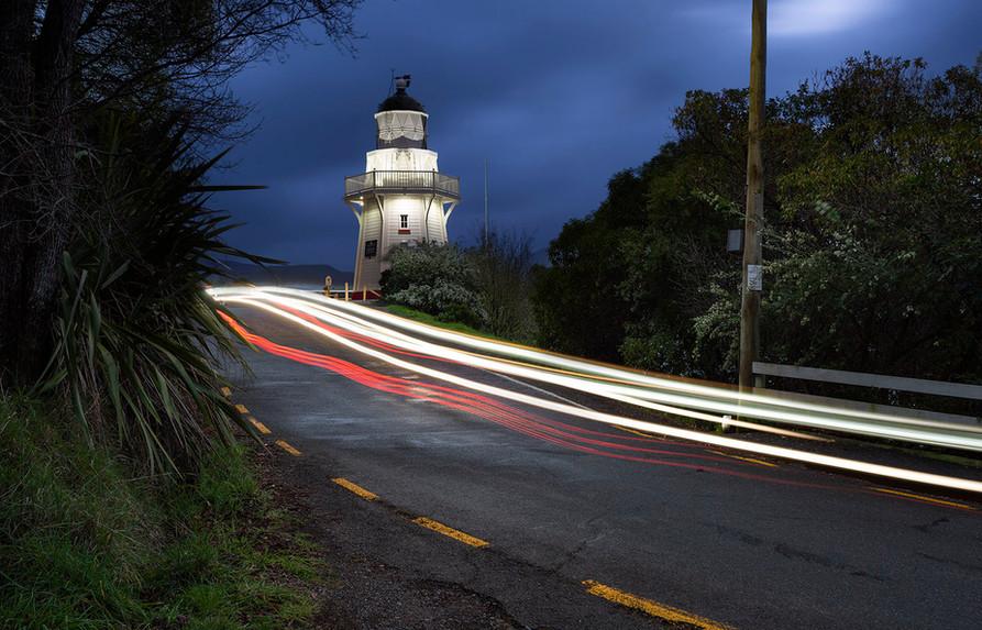 Akaroa lighthouse at night