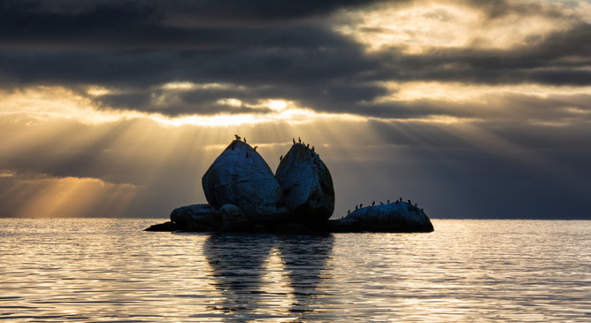 Split Apple Rock is a popular landmark in the Tasman district