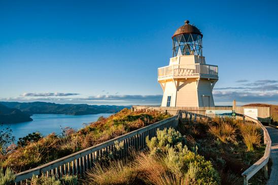 Manukau Heads Lighthouse at dusk