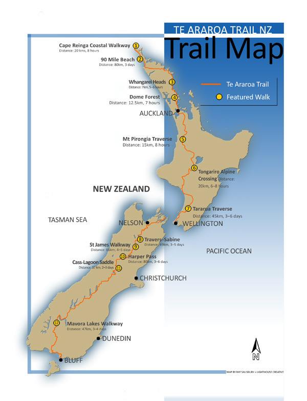 Te Araroa Map for Wilderness Mag