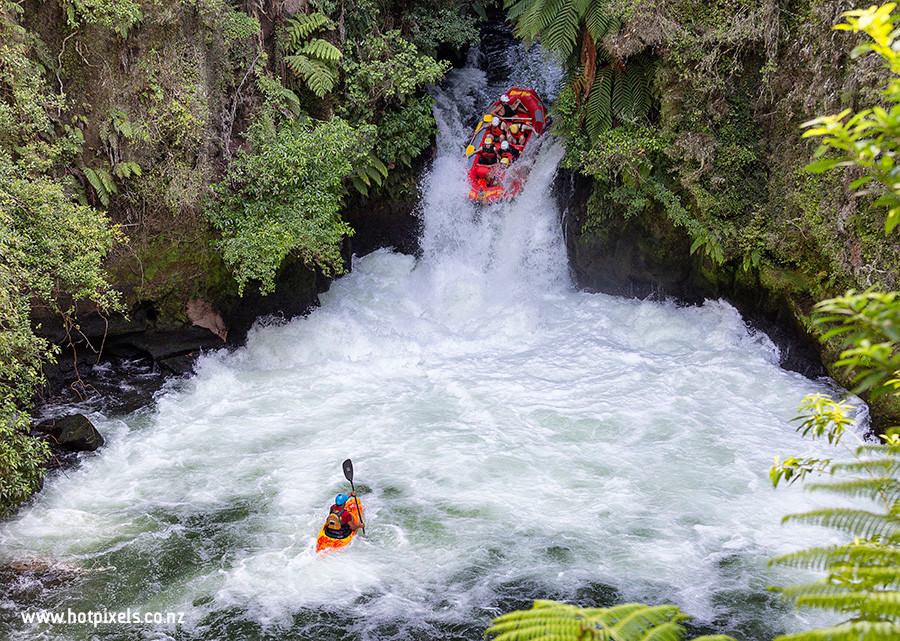 Raft drops over Okere Falls, Rotorua