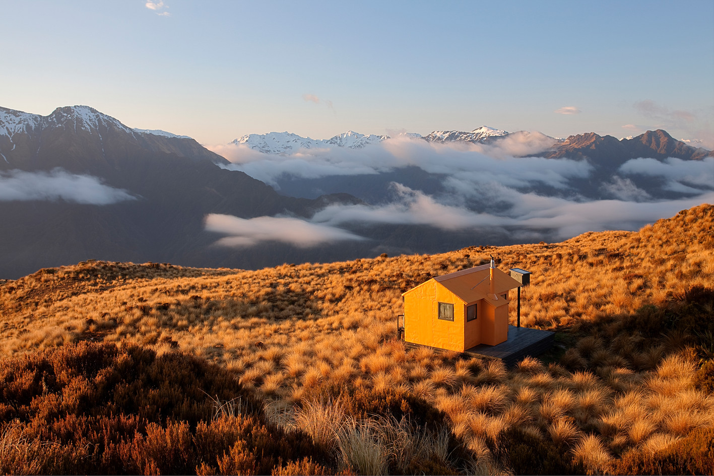 Mt Brown Hut is painted in Rescue Orange