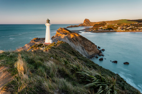 Castlepoint lighthouse at dawn, Wairarapa