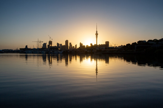 Sunrise over Auckland City from Westhaven marina