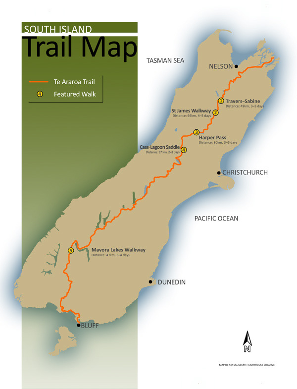 Te Araroa Map for Wilderness Mag