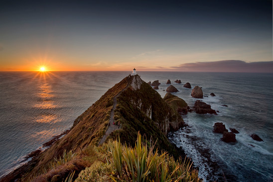 Nugget Point lighthouse at sunrise, Catlins Coast