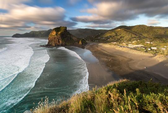 Lion Rock at dusk, Piha Beach, Auckland