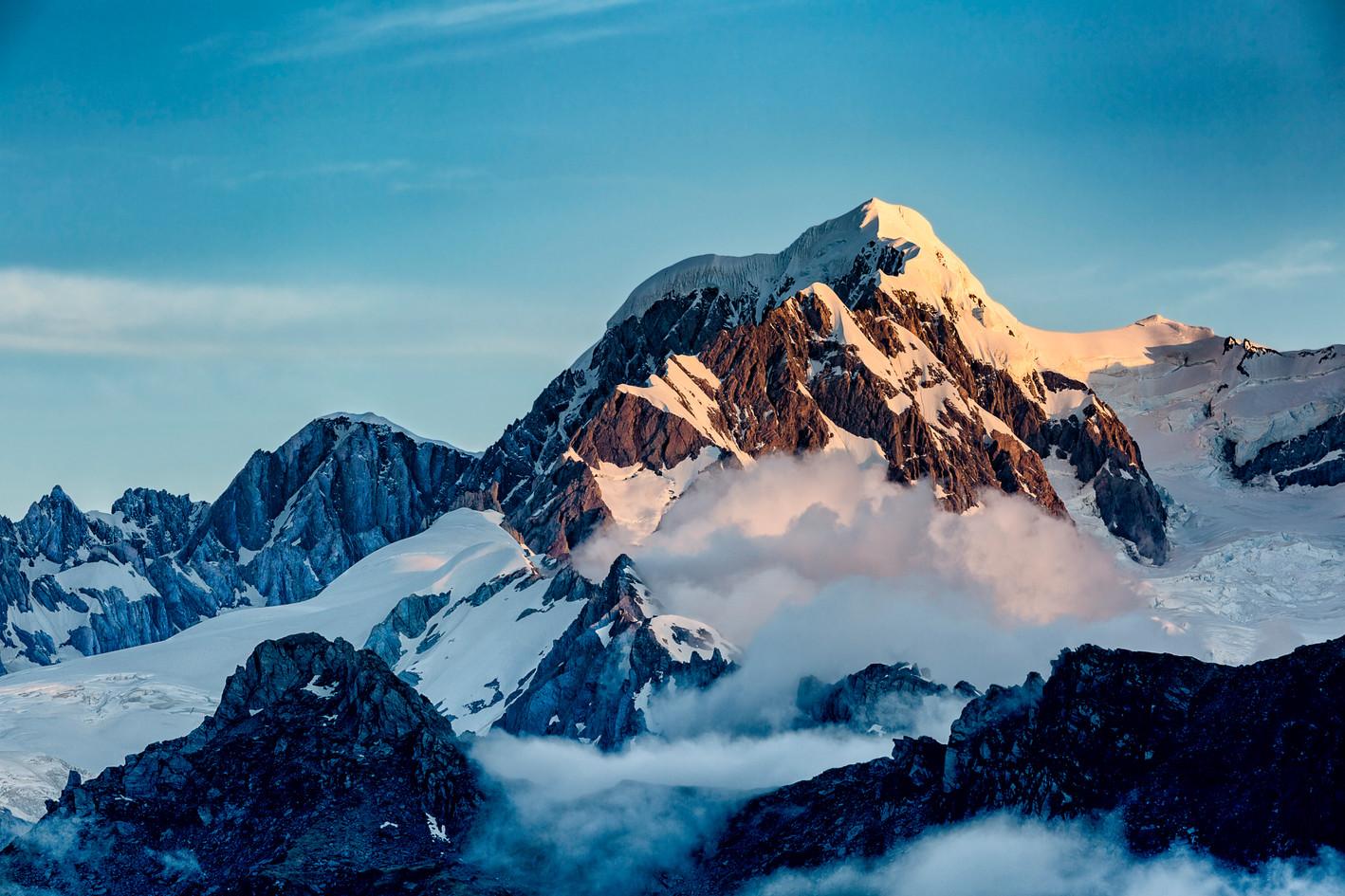 Mt Tasman rises above the Fox valley