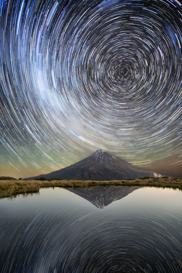 Star trails reflected in Pouakai Tarn