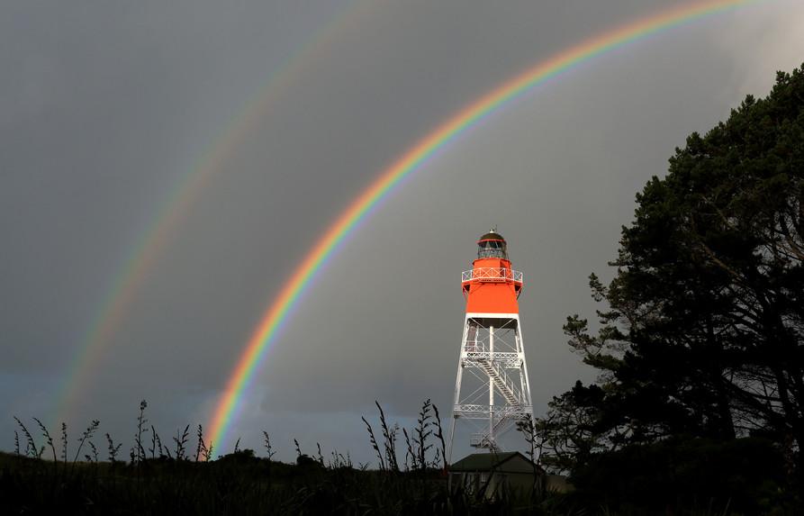 Farewell Spit Lighthouse & rainbow