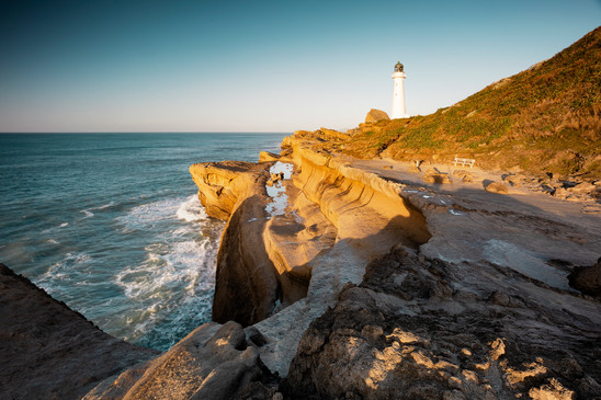 Castlepoint lighthouse in morning light, Wairarapa
