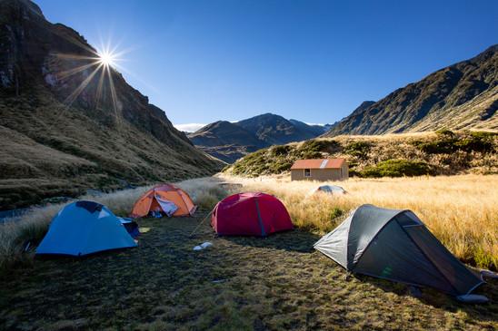 Tents at Top Waitaha Hut