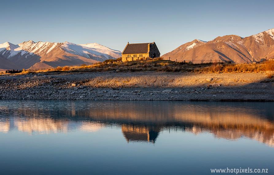 Lake Tekapo church reflections