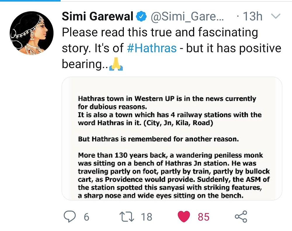 A Simmi Grewal tweet related to Swami Vivekanand and Hathras .