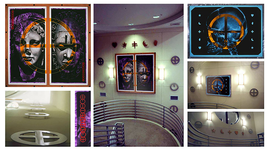 """""""Homer's Chain of Esoteric Alchemy"""" 1993  Pace Library Expansion, Stair Tower Installation University of West Florida, Pensacola, Florida"""