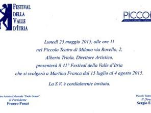 Conferenza Stampa 41°Festival della Valle d'Itria