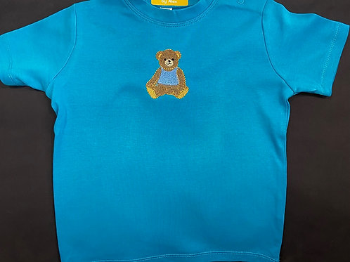 Short Sleeve Baby Teddy in a Blue Vest T-shirt