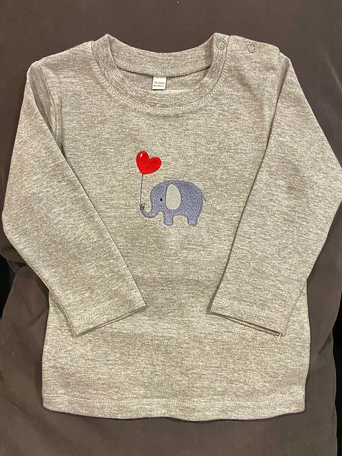 Long sleeve kidsT-shirt with elephant and heart balloon