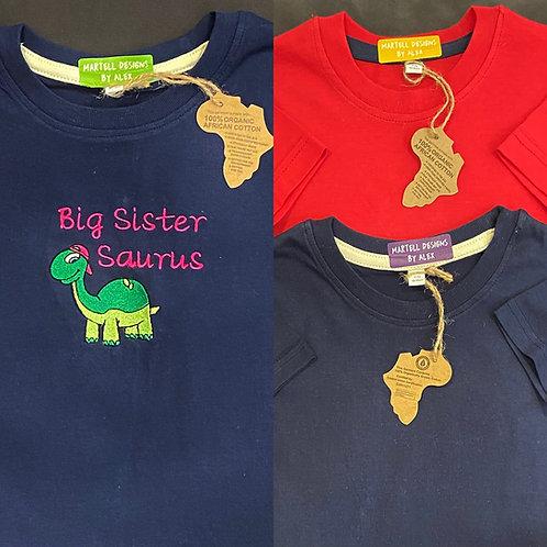 Big Sister/Brother 'Saurus t-shirt 2-3, 3 - 4 yrs