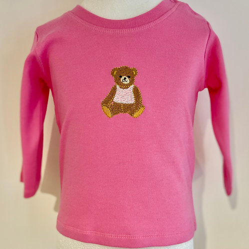 Long Sleeve Baby Teddy in a Pink Vest T-Shirt