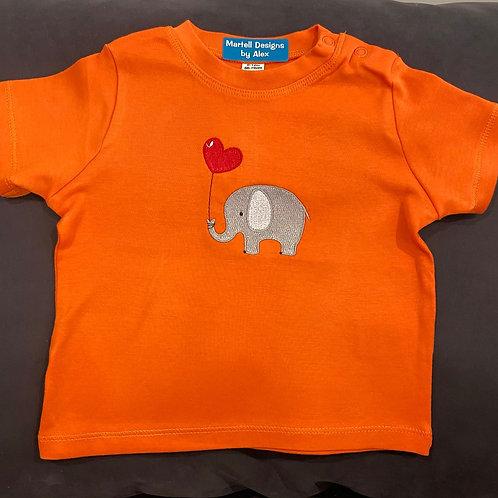 Short Sleeve Elephant & Heart Balloon T-shirt Baby