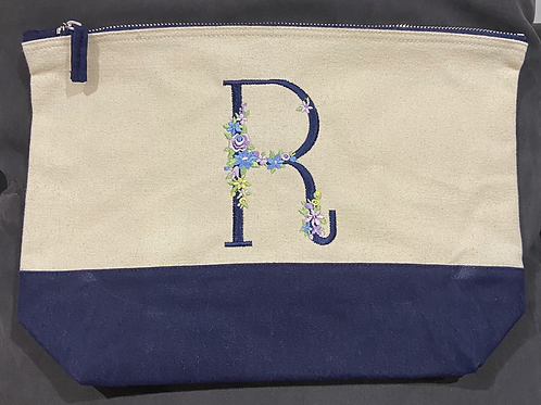 Dipped make-up/wash bag with Monogram floral initial