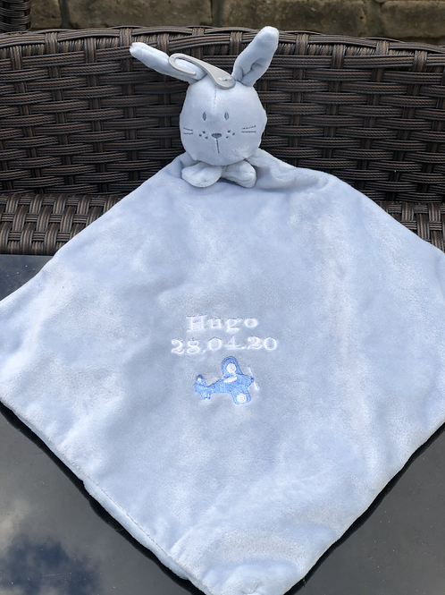 Blue Bunny Rabbit baby comforter