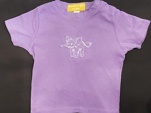 Short Sleeve Elephant Outline T-shirt