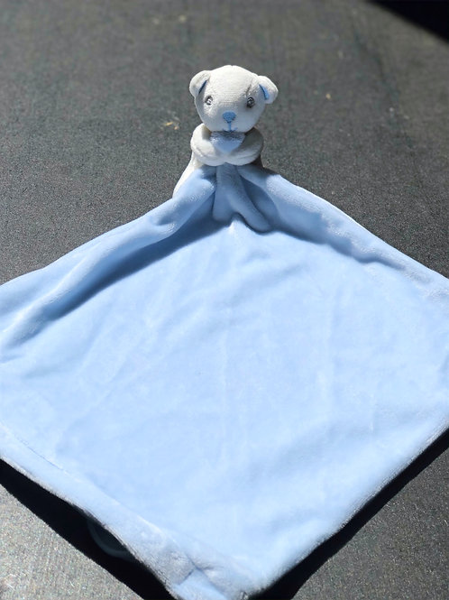Blue bear baby comforter with rattle