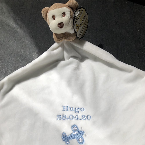 Monkey Baby Comforter for a Boy with a zip for storage