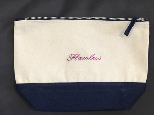 'Flawless' Embroidered Make-Up/Wash Bag (Medium)