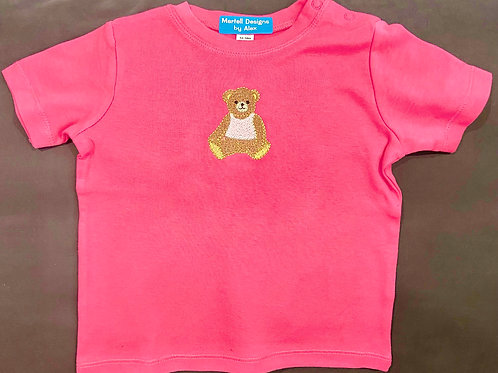 Short Sleeve Baby Teddy in a Pink Vest T-Shirt