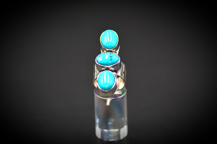 Sterling Silver Three Turquoise Stone Ring