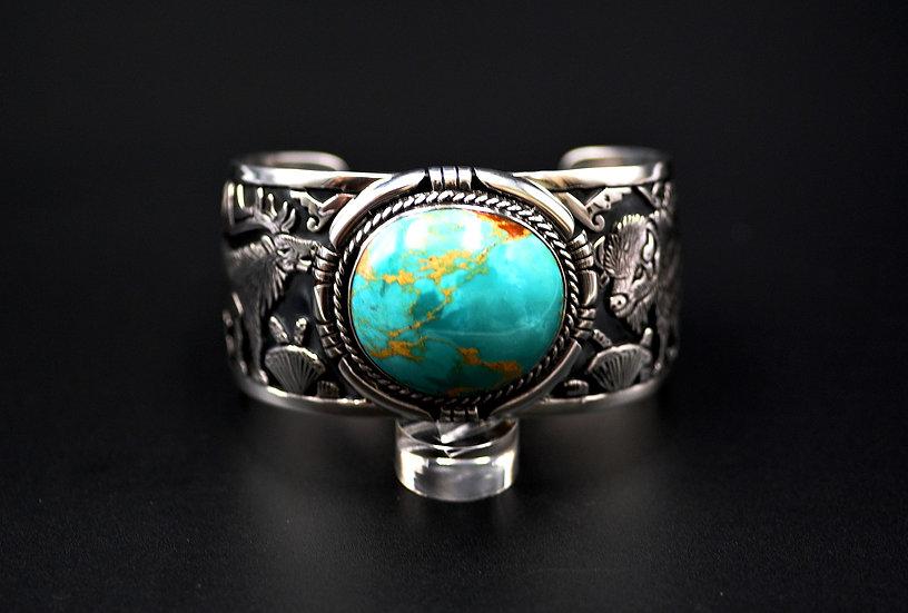 Buffalo & Deer Cuff Royston Turquoise Bracelet