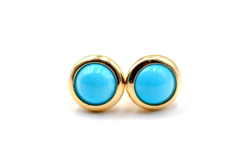 Genuine Sleeping Beauty Turquoise 14k Gold Studs Earrings