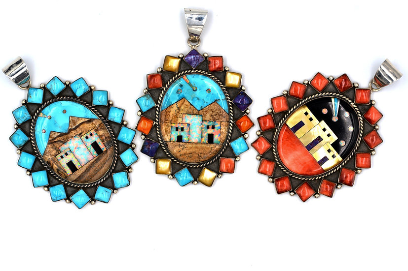 Pueblo Design Turquoise, Multicolor or Coral Square Sterling Silver Pendant