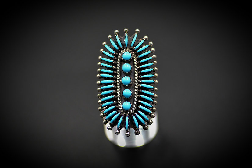 Navajo Sterling & Genuine Turquoise (round) Needlepoint Cluster Ring