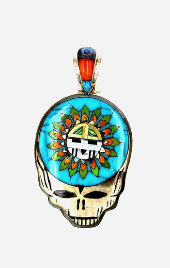 Multicolor Stone Inlay Grateful Dead Pendant