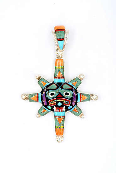Southwest Totem Pole Multicolor Inlay Sterling Silver Pendant